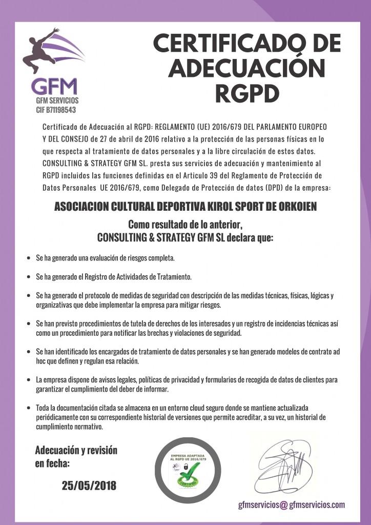 ASOCIACION CULTURAL DEPORTIVA KIROL SPORT DE ORCOIEN